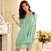 Wholesale Sexy Plus Size Casual Dresses Fashion colors Chiffon Dresses Party Dresses Plus Size QQSL