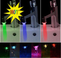 Wholesale Pull out Kitchen LED water faucet Light Temperature Sensor change Color NO Battery