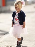 Girl Spring / Autumn Long children clothes 2014-2015 autumn girls T-shirt + jacket + skirt 3 piece suit ,5set lot,dandys