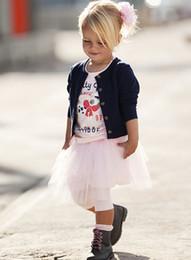 2017 faldas para las muchachas de los niños ropa de los niños niñas 2014-2015 otoño camiseta + chaqueta + falda del juego de 3 piezas, 5set / lot, Dandys faldas para las muchachas de los niños en oferta