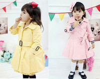 Wholesale Children s autumn girl princess single breasted belt coat dandys