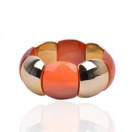 Wholesale Women s fresh style jewelry orange shell style stretch Acrylic bracelet TNB058