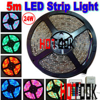 Wholesale 24W RGB M LEDs waterproof flexible LED strip Light leds m key Remote controller