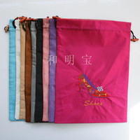 Wholesale Drawstring Shoe Bags Satin Embroidered Two Layer pack Mix Color inch