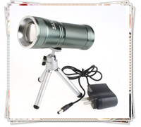 Wholesale Super Bright Zoomable LED Flashlight Torch with Tripod For Boating Fishing Camping with Retail Box