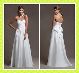 Wholesale 2012 Custom Made Simple Beach Wedding Dresses Casual Sash Sweetheart Neckline Satin Bridal Gowns