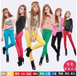 Wholesale Women Sexy Candy flexible and stretch Colors cotton Pencil trousers Jeans