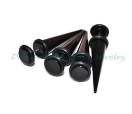 Fake Ear Taper Cheater Illusion Plug Earring Stretcher Stretching Expander Kit Black UV Acrylic