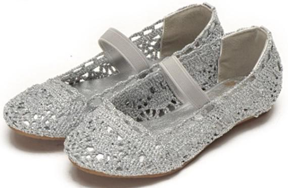 Small Girls Shoes Hollow Style Shoes Silver Color Outer Lace Inner ...