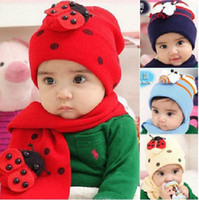 Winter ba baby - 6sets Baby ladybug hat and scarf set ladybird DR CAP HATS Beetle sets ba