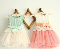 Wholesale Summer Fashion Flower Girl s dress sleeveless vest ribbon pure cotton net yarn baby lace dress Year children clothing RT327