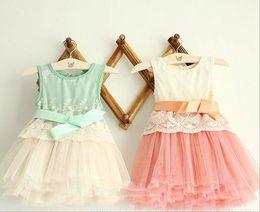 Wholesale Summer Fashion Flower Girl s dress sleeveless vest ribbon pure cotton net yarn baby lace dress Year children clothing RT327