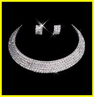 Designer 2015 Sexy Men-Made Boucles D'oreilles Diamant Collier Soirée Prom Formal Mariage Bijoux Set Accessoires Mariage 15-035 Livraison gratuite En Stock