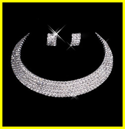 Wholesale Deaigner Sexy Men Made Diamond Earrings Necklace Wedding Jewelry Set Bridal Accessories