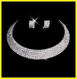 Los accesorios nupciales determinados 15-035 de la boda formal del baile de fin de curso del partido del collar de los pendientes del diamante del diseñador 2015 de la joyería de los hombres liberan el envío En la acción