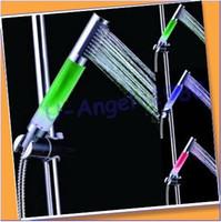 Wholesale LED shower tri color super bright LED temperature control shower No Battery rod shower bath