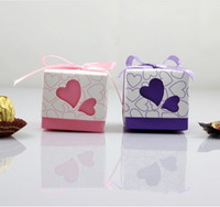 Pink Paper In stock promotion Cheap Pink Purple 100 Piece 1 lot Romantic Wedding Bridal Boxes Favors  Favor