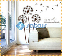 Wholesale 1 M High Wall Stickers Wall Decoration flying dandelion with the wind Home decorating art