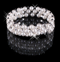 Wholesale 2015 Bracelets Row Pearls Gilrls Lady s Prom Cocktail Homecoming Party Wedding Bridal Rhineston Simulated pearl In Stock