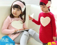 Wholesale New hot Baby Dresses suit Girls baby sets baby headband love heart dress legging Love Set