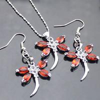 Earrings & Necklace blue jade earrings - Dragonfly necklace dangle earirng set women s jewelry set Silver ziron jewelry sets SSS