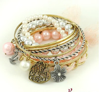 Wholesale Hot sale popular Sweet pink flowers Peach Pearl swallow lace multilayer Bracelet