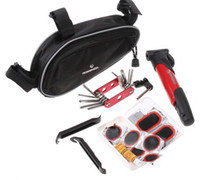 Wholesale Cycling Bicycle Tools Bike Repair Kit Set with Pouch Pump Red