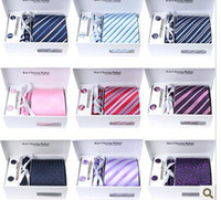 Wholesale 31 Colors Quality Neck Tie Set WeddingTies Tie Clips Cufflinks Hanky Gift Box Sets