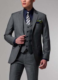 Wholesale Men Business Custom made three pieces suit Men middle grey Suit jacket pants vest
