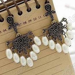 Wholesale Vintage Ornate Retro Palace Style Pearl Drop Earrings Earring E0149