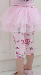 Wholesale Baby Girls Skirt Leggings Summer Autumn Floral Printing Cotton Skinny Pants Lace TuTu Pantskirts Blue Pink Culottes Dandy Tights
