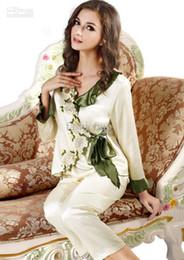 Wholesale Fashion Women Silk Lingerie Pajamas Suit White Sexy Set V neck Embroider Cropped Plants Comfortable Ladies Sleepwear Plus Size SG