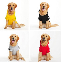 Wholesale Plus Large Big Size Hooded Dog Clothes Sports Jumper Pet Coat t shirt Winter XL XL Black Red Grey Yellow colors