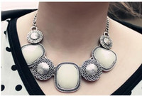Wholesale Retro Ancient Silver Gemstone Necklaces
