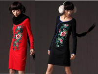 Wholesale 2012 New Fashion Chinese style colors exquisite embroidery V Neck long sleeve slim dresses