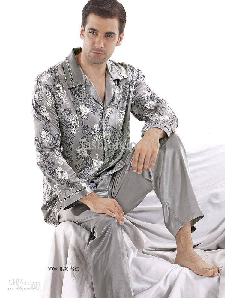 2017 Fashion Men Silk Satin Pajamas Sleepwear Long Sleeve Costly ...