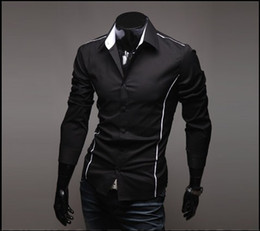 Wholesale NEW Men s Long Sleeve Shirts Cotton Lapel Mens Shirt Slim Dress Shirts For Men Busi ness Shirts black dfsfddd