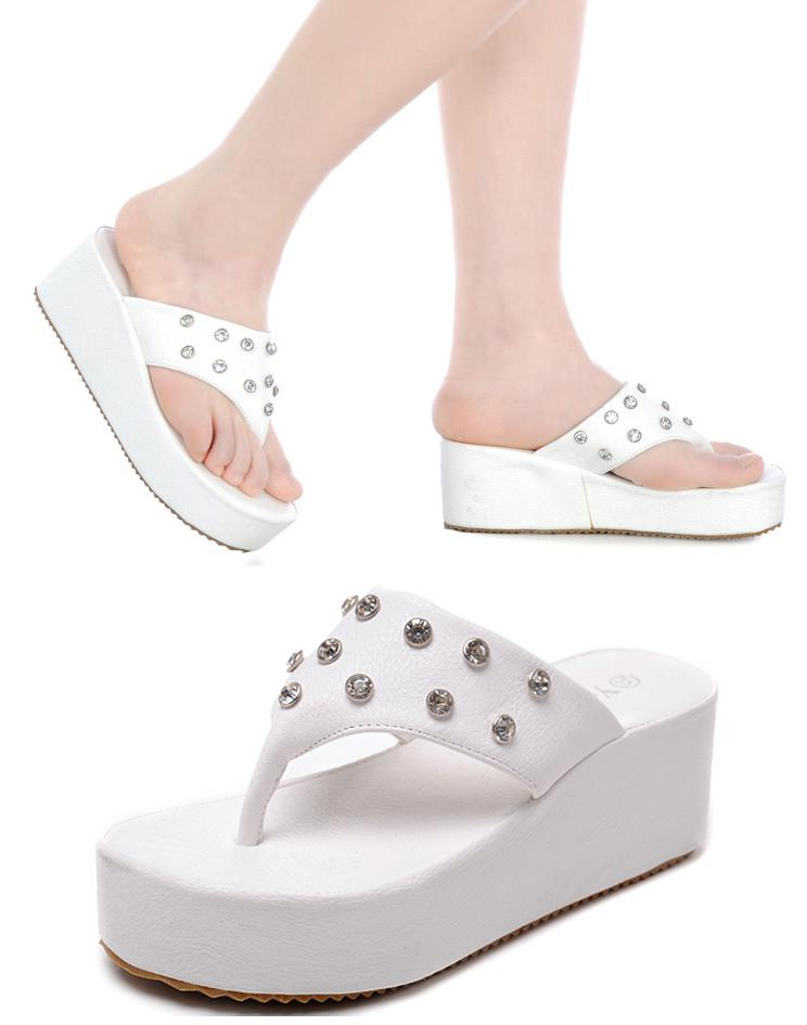 High heeled flip flops wedge