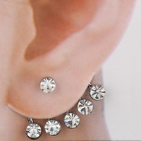 Silver best bridesmaids gifts - Ear Cuff Stud earrings Wedding Five Rhinestone Bridesmaid Best Gift LK2222