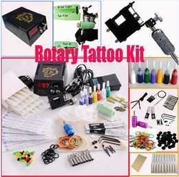 Wholesale Rotary Tattoo Machine Gun Kits LED Power Supply Color Ink Set Needles Steel Tips Pro ML001
