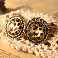 Wholesale Fahion Retro Round Leopard Cut Gemstone Stud Earring Earrings E0021