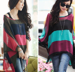Wholesale 2014 Fashion Chiffon Women Shirts Tops Long Sleeve Spring Autumn Striped Casual Loose Piece Suit