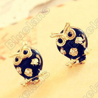 Wholesale Retro Vintage Owl Hollow Drip Cute Mini Earrings E2077