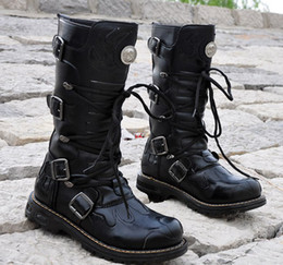 Black Men's Shoes Knee-High Boots,Punk Rivet Buckles Lace-Up Fire Totem Leather Casual Winter Outdoor Boots,US Size 6.5-10