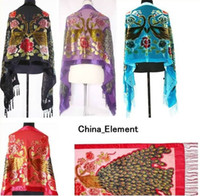 Wholesale 7 color New Chinese Women s Silk Embroider Shawl Scarf PC