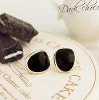 Stud alloy coffee beans - New Mini Mellow Gold Side Coffee Bean Earrings Earring E0071 black