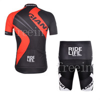 Wholesale COOLMAX red black GIANT Cycling wear bikes clothing short sleeve jersey shorts pants XS XXXL