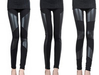 Wholesale Fashion Tights Pants Imitation Leather Slim Style Ankle Length Leggings