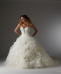 Wholesale 2012 Sweetheart Beaded Ruffles Wedding Dress A line Organza Cathedral Train Bridal Gown