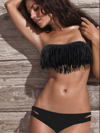 Wholesale 2013 Summer Hot Newest SEXY Woman Bikini Set Fringe Swimwear Tassels Padded Boho Doll Black